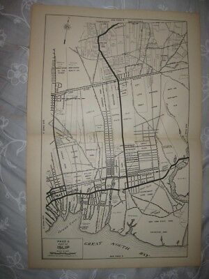 Vintage Antique 1929 Islip Bay Shore Brentwood Suffolk County New York Map Rare