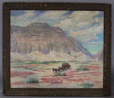 Antique HAROLD WINFIELD SCOTT American Western Stagecoach Landscape Oil Painting