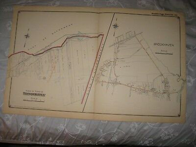 Vintage Antique 1915 Brookhaven Suffolk County New York Handcolored Map Rare Nr
