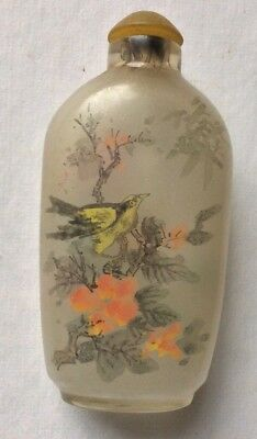 Vintage  Chinese Hand Painted Bird Motif Snuff Bottle