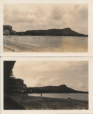 1933  Waikiki Beach, Moana Hotel, Diamond Head Hawaii 2 Photos