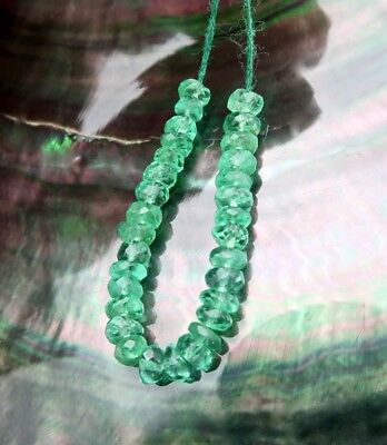 31 FACETED COLOMBIAN EMERALD BEADS SPECTACULAR RARE GEM AAAAA 3.2-3.6mm 5.35cts