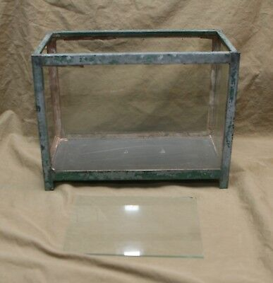 Vintage Terrarium Glass Case No Top 1 Side Open Display Case Heavy Metal Glass