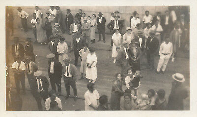 1933   Honolulu Harbor locals at the pier waiting for ship Hawaii  Photo