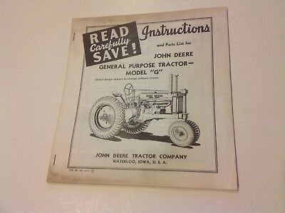 John Deere Model G Tractor Parts List and Instructions Vintage 1941