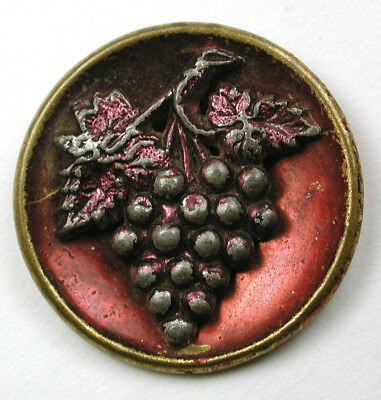 """BB Antique Tinted Brass Button Pewter Grapes Design - 7/8"""""""