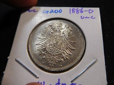 G200 Germany Empire 1886-D Mark UNC Catalog Value=$250