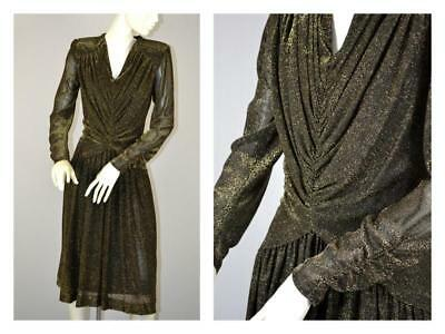 vintage Ursula draped gold metallic dress M disco 70's meets 80's meets Gatsby