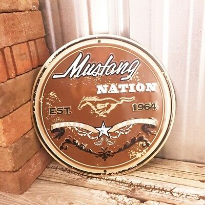 "Ford Mustang Nation 1964 Pony 12"" Round Metal Tin Sign Vintage Garage Muscle Car"