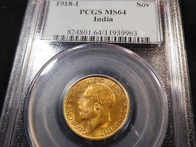 G214 India British 1918-I GOLD Sovereign PCGS MS-64