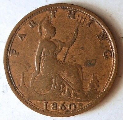 1860 GREAT BRITAIN FARTHING - VERY RARE DATE Coin - Lot #J17