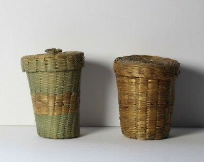 2 Antique c. 1900 Woven Blue Dyed Sweetgrass Basket Shot Glass Holders