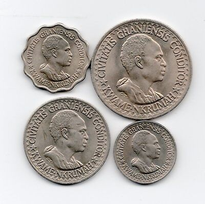 Ghana Uncirculated 1965 4 Coins Set-Lot E2