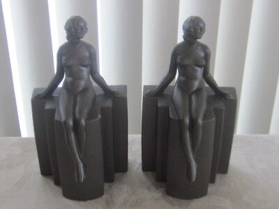"Vintage Art Deco Nude Goddess Metal Bookends 8""TALL EX!"