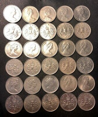 Vintage Great Britain Coin Lot! 5 PENCE - 30 Excellent Coins - LARGE TYPE - #J17