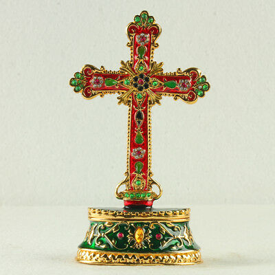 Chinese Exquisite Cloisonne Inlaid Rhinestone Cross Statue Jewelry Box R0024+a