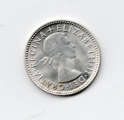 Australia Silver Uncirculated 1954 6 Pence-Lot A2