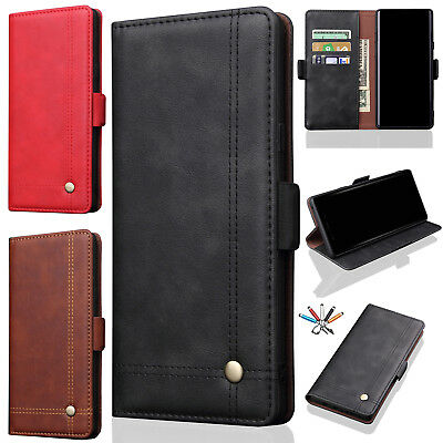 For Galaxy Note 9 S9 Plus Retro Leather Magnetic Flip Card Slot Stand Case Cover