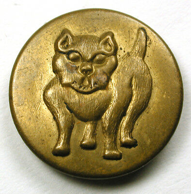 """BB Antique Brass Overall Work Clothes Button w/ Bull Dog Design - 3/4"""""""