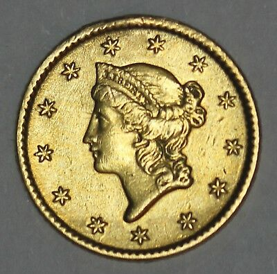 """1849-1854 U.S. Liberty Head $1 One Dollar Gold Coin Engraved """"Mother"""" Love Token"""