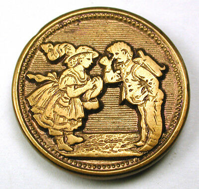 """BB Antique Brass Button Boy Wearing Back Pack Greets a Girl Scene - 7/8"""""""