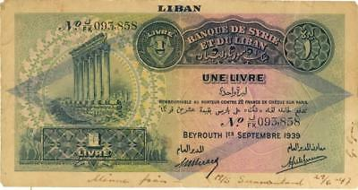 Lebanon 1 Livre O/P Currency Banknote 1939