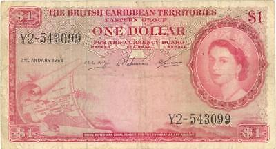 British Caribbean Territories $1 Dollar Currency Banknote 1958