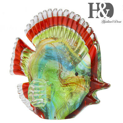 Hand Blown Colorful Marine Fish Animals Collection Art Glass Figurine Ornament