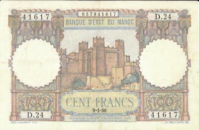 Morocco 100 Francs Currency Banknote 1950