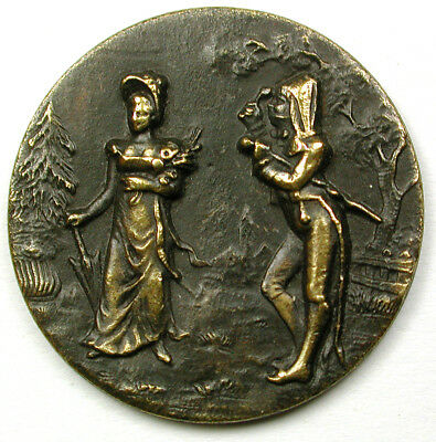 """BB Antique Brass Button French Fops Man Watches Lady Walk Past -1 & 1/16"""""""