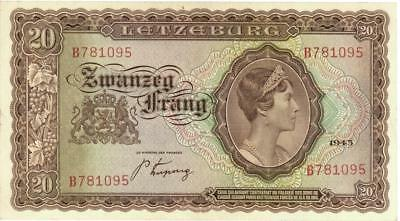 Luxembourg 20 Francs Currency Banknote 1944  XF/AU