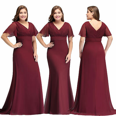 PLUS SIZE WOMEN Evening Prom Party Dress Short Sleeve ...