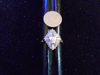 bling gold plated marque baguette cubic coctail cluster ring hip hop jewelry sz8