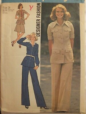 VTG 74 SIMPLICITY 6794 Suit/Pantsuit w Jacket Skirt & Pants PATTERN 10/32.5B