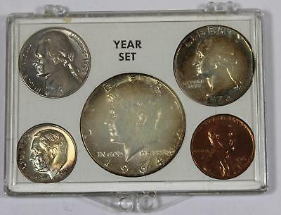 1964 Birth Year Set w/ Vintage Case - TONED Silver Coins - 78989