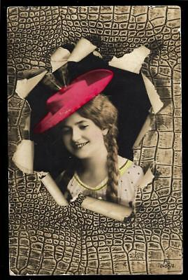 1¢ Wonder's ~ Real Photo Postcard W/ Lady Wearing Red Hat ~ R637