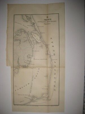 Antique 1866 Cape Hatteras Nags Head Outer Banks North Carolina Civil War Map Nr