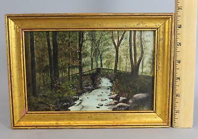 Small Antique American Wooded Stream & Bridge Landscape Oil on Board Painting