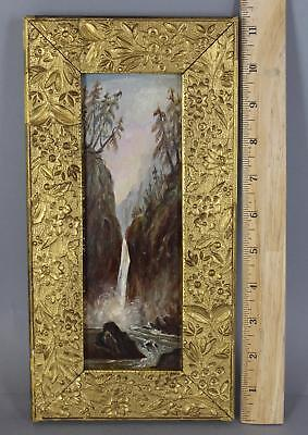 Small 19thC Antique American Hudson River Waterfall Landscape Oil Painting, NR