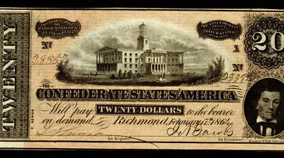 T67 $20 1864 ( CHOICE AU ) Confederate States of America ** 2nd of 2 consecutive