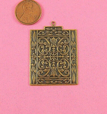 Antique Brass Square Moroccan Pendant With Top Ring - 1 Pcs