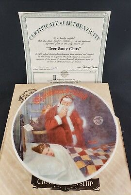 Knowles Norman Rockwell Deer Santy Claus Collector Plate