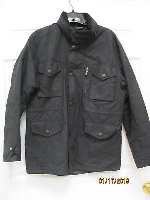 Barbour Sapper Jacket Black Waxed Cotton Quilted Lining Men's Small Zip-out Hood