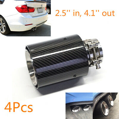 4X 2.5''in, 4.1''out Glossy Black Carbon Fiber Car Exhaust End Tips Pipe For BMW