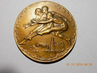 1914 THE JOY OF EFFORT Medallion By Robert T. McKenzie - 77mm Bronze - BU
