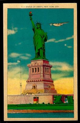 1¢ Wonder's ~ Unused Postcard W/ Plane Flying Over Statue Of Liberty ~ R667