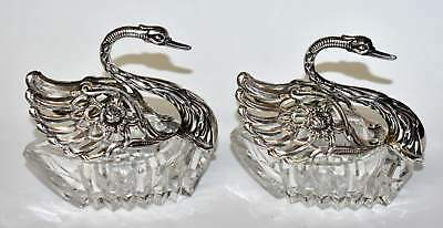 "Pair Large Gorgeous Antique German 835 Silver Swan & Glass Salt Cellars 4"" 12cm"