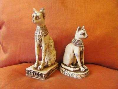 2 UNIQUE Handmade Statues of Egyptian Ancient Mythical Cat Bastet Collection