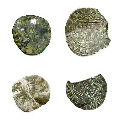 Group Lot of 4 Silver Medieval Coins Exact Lot Shown - 4546