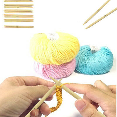 55Pcs Bamboo Double Pointed Knitting Needles Sweater Glove Knit Tool Set 13cm